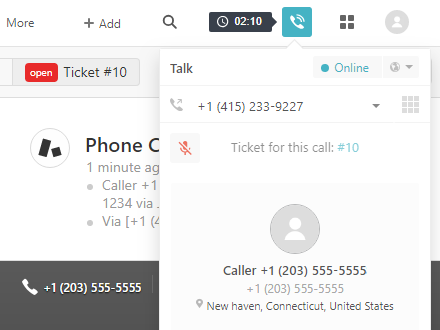 In-progress call screenshot in Zendesk